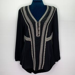 Veronica Beard Loreto Embroidered Silk Blouse
